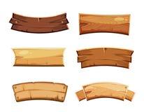 Beeldverhaal houten lege banners en linten, westelijke tekens vectorreeks stock illustratie
