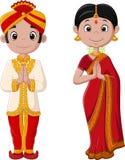 Beeldverhaal Indisch paar die traditioneel kostuum dragen vector illustratie