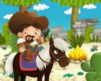 Beeldverhaal Indische karakters dichtbij de brand in de wildernis - cowboy die op paard zich voor het stadium bevinden Royalty-vrije Stock Fotografie