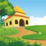 Beeldverhaal Islamitische moskee en mooi aardlandschap royalty-vrije illustratie
