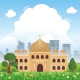 Beeldverhaal Islamitische moskee en mooi aardlandschap vector illustratie