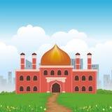 Beeldverhaal Islamitische moskee en mooi aardlandschap stock illustratie