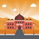 Beeldverhaal Islamitische moskee en woestijn stock illustratie