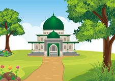 Beeldverhaal Islamitische moskee met landschap stock illustratie