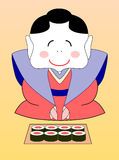 beeldverhaal Japanse geisha met sushi Stock Foto