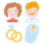 Beeldverhaal jonge familie. Moeder, vader, baby. Royalty-vrije Stock Foto's
