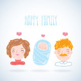 Beeldverhaal jonge familie. Moeder, vader, baby. Stock Foto