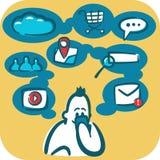 Beeldverhaal jonge mens die Internet doorbladeren die smartphone gebruiken Sociale en media pictogrammen rond het Royalty-vrije Stock Afbeelding