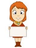 Beeldverhaal jonge vrouw met lege raad vector illustratie