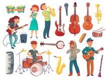 Beeldverhaal jonge zangers met microfoons en musicuskarakters w royalty-vrije illustratie