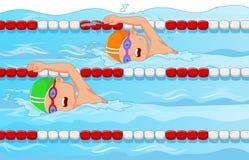 Beeldverhaal Jonge zwemmer in het zwembad Stock Afbeeldingen