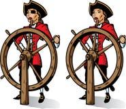 Beeldverhaal Kapitein Pirate. Een deel van een reeks. Stock Afbeeldingen