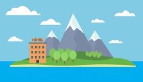Beeldverhaal kleurrijke illustratie van een eiland op zee met bergen en heuvel, bos en hotel op een zandig strand onder blauwe he royalty-vrije illustratie