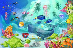 Beeldverhaal Kleurrijke Marine Underwater Life Background stock illustratie