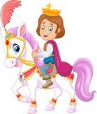 Beeldverhaal knap prins het berijden paard op witte achtergrond stock illustratie