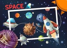 Beeldverhaal Kosmisch Malplaatje vector illustratie