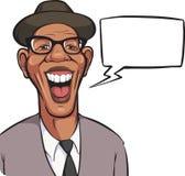 Beeldverhaal lachende zwarte mens in hoed met toespraakbel Royalty-vrije Stock Afbeelding