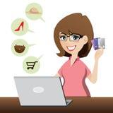 Beeldverhaal leuk meisje die online met creditcards winkelen Stock Foto