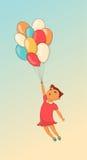 Beeldverhaal leuk meisje met ballon Getrokken hand vector illustratie