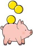 Beeldverhaal leuk spaarvarken met gouden muntstukvector Stock Afbeeldingen