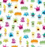 Beeldverhaal leuke en grappige monsters en bacterias Vector naadloos die patroon op wit wordt geïsoleerd Royalty-vrije Stock Afbeeldingen