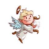Beeldverhaal leuke engel, het spelen lier Stock Fotografie