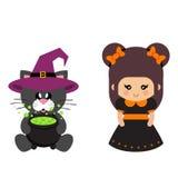 Beeldverhaal leuke heks met boog met katten zwarte zitting in hoed en ketel Royalty-vrije Stock Foto