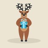Beeldverhaal leuke herten met gift Gelukkig Nieuwjaar en Vrolijke Kerstmis Stock Afbeelding