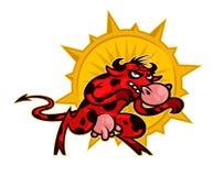 Beeldverhaal leuke koe Illustratie van een rode agressieve stier Beeld van een karakter op witte achtergrond wordt geïsoleerd die stock afbeeldingen
