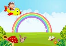 Beeldverhaal Little Boy die een Vliegtuig met regenboog in werking stellen stock illustratie