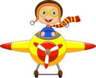 Beeldverhaal Little Boy die een Vliegtuig in werking stellen Royalty-vrije Stock Afbeeldingen