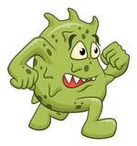 Beeldverhaal lopende microbe stock illustratie