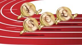 Beeldverhaal lopende muntstukken stock illustratie
