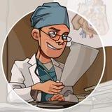 Beeldverhaal mannelijke arts die in het bureau aan de achtergrond van een cirkel werken stock illustratie
