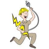 Beeldverhaal Mannelijke Elektricien Stock Afbeelding