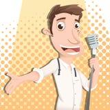 Beeldverhaal mannelijke zanger Stock Foto
