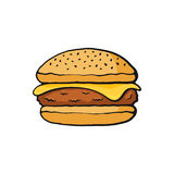 Beeldverhaal met contour van cheeseburger met vlees en kaas royalty-vrije illustratie