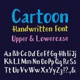 Beeldverhaal met de hand geschreven doopvont In hoofdletters en kleine letters Geïsoleerd Engels alfabet van korrelige textuur stock illustratie