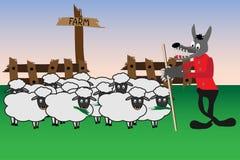 Beeldverhaal met wolf en schapen Royalty-vrije Stock Afbeeldingen