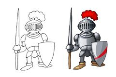 Beeldverhaal middeleeuwse die ridder met schild en spear, op witte achtergrond wordt geïsoleerd stock foto