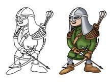 Beeldverhaal middeleeuwse die schutter met boog en pijlen, op witte achtergrond wordt geïsoleerd royalty-vrije stock afbeelding