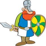 Beeldverhaal middeleeuwse ridder die een schild en een zwaard houden Royalty-vrije Stock Fotografie