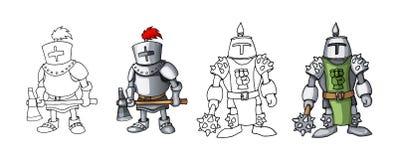 Beeldverhaal middeleeuwse zekere bewapende die ridders, op witte kleuringen worden geïsoleerd als achtergrond royalty-vrije stock afbeeldingen