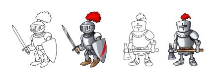 Beeldverhaal middeleeuwse zekere bewapende die ridders, op witte kleuringen worden geïsoleerd als achtergrond stock foto
