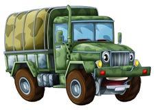 Beeldverhaal militaire vrachtwagen - karikatuur Stock Foto