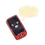 beeldverhaal mobiele telefoon met toespraakbel Stock Foto