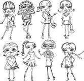 Beeldverhaal modieuze meisjes Stock Afbeelding