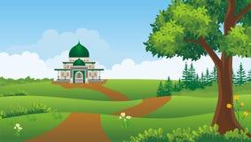 Beeldverhaal Moslim - moskee met mooi landschap vector illustratie