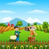 Beeldverhaal Moslimjongen en zijn schapen met oude landbouwer bij de landbouwbedrijfachtergrond stock illustratie