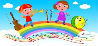 Beeldverhaal muzikale instrumenten en kinderen Royalty-vrije Stock Afbeelding